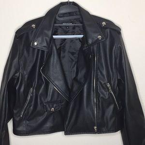Black PU zipped Biker Jacket